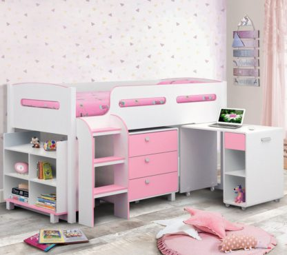 An Image of Wooden Kids Mid Sleeper Sleep Station Desk Cabin Storage Bed Frame 3ft Single Kimbo Pink and White