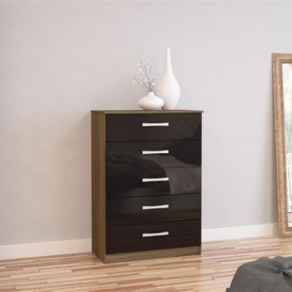 An Image of Lynx 5 Drawer Chest Walnut and Black