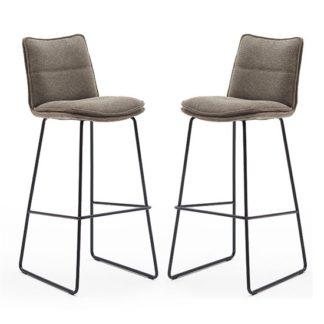 An Image of Ciko Cappuccino Fabric Bar Stools With Matt Black Legs In Pair