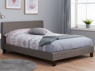An Image of Berlin Grey Fabric Bed Frame - 4ft6 Double