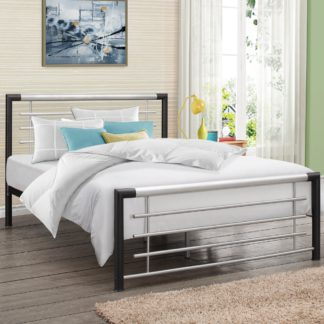 An Image of Faro Black and Silver Finish Metal Bed Frame - 4ft Small Double