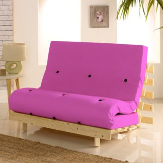 An Image of Metro Pine Wooden 2 Seater Chair/Folding Guest Bed with Pink Futon Mattress - 4ft Small Double