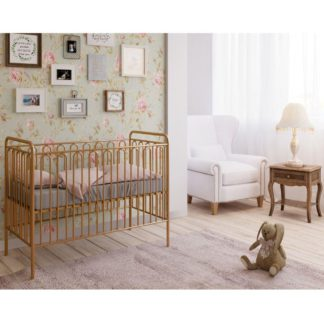 An Image of Vintage Gold Metal Baby Cot Frame - 60 x 120 cm
