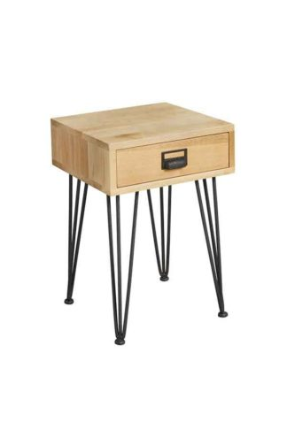 An Image of Felix Industrial Side Table - Solid oak and steel