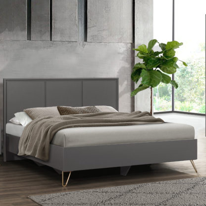An Image of Arlo Charcoal Wooden Bed Frame - 4ft Small Double