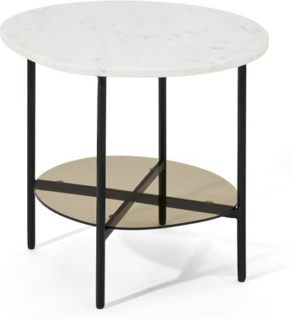 An Image of Tiziana Side Table, White Marble & Amber Glass