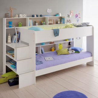 An Image of Bibop White Wooden Bunk Bed Frame Only - EU Single
