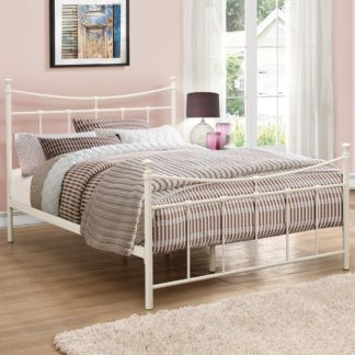 An Image of Emily Cream Metal Bed Frame - 4ft Small Double