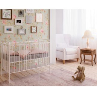 An Image of Vintage White Metal Baby Cot Frame - 60 x 120 cm