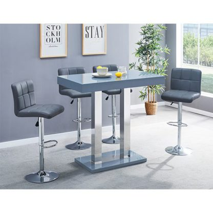 An Image of Caprice Glass Bar Table In Grey With 4 Coco Grey Stools