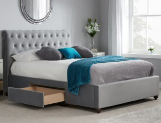 An Image of Marlow Grey Velvet Fabric 2 Drawer Storage Bed - 5ft King Size
