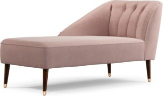 An Image of Custom MADE Margot Left Hand Facing Chaise Longue, Pink Cotton Velvet with Dark Wood Copper Legs