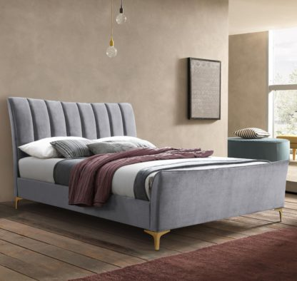 An Image of Clover Grey Velvet Fabric Bed Frame - 4ft Small Double