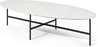 An Image of Tiziana Large Oval Coffee Table, White Marble