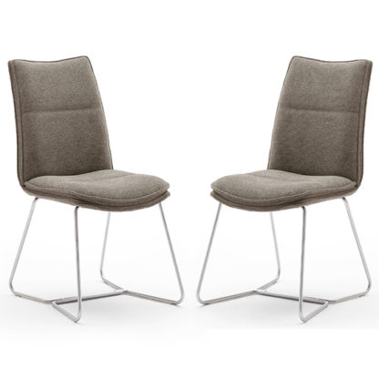 An Image of Ciko Cappuccino Fabric Dining Chairs With Brushed Legs In Pair
