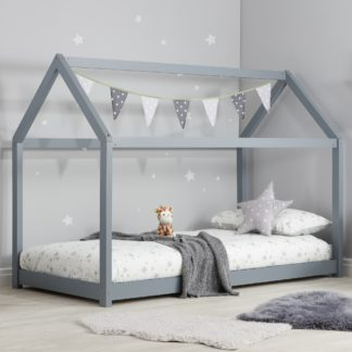 An Image of House Grey Wooden Bed Frame - 3ft Single