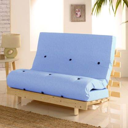 An Image of Metro Pine Wooden 2 Seater Chair/Folding Guest Bed with Lilac Futon Mattress - 4ft Small Double