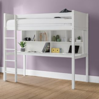 An Image of Titan White Wooden High Sleeper Frame - 3ft Single
