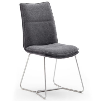 An Image of Ciko Fabric Dining Chair In Anthracite With Brushed Legs