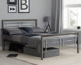 An Image of Montana Chrome and Nickel Metal Bed Frame - 5ft King Size