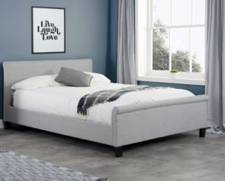 An Image of Stratus Grey Fabric Sleigh Bed Frame - 4ft6 Double