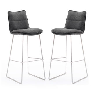 An Image of Ciko Anthracite Fabric Bar Stools With Brushed Legs In Pair