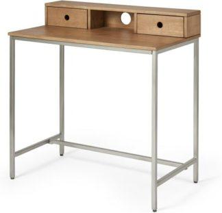 An Image of Lomond Compact Desk, Honey Mango Wood & Brushed Steel