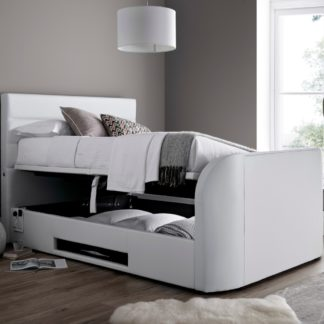 An Image of Annecy White Leather Ottoman Media TV Bed Frame - 5ft King Size