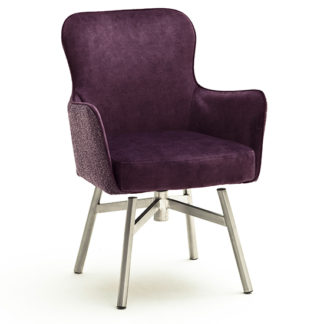An Image of Hexo Merlot Fabric Dining Chair With Brushed Round Frame