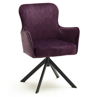 An Image of Hexo Merlot Fabric Dining Chair With Black Oval Frame