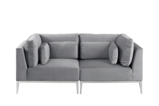 An Image of Cassie Two Seat Sofa – Dove Grey – Stainless Steel Base