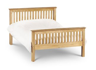 An Image of Barcelona High Foot End Antique Solid Pine Wooden Bed Frame - 4ft6 Double