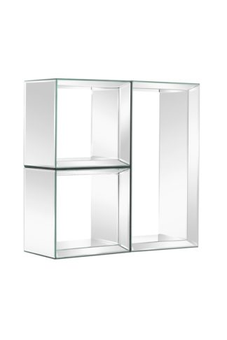An Image of Mirrored Wall Shelves -Uno- 2 Square & 1 Rectangle