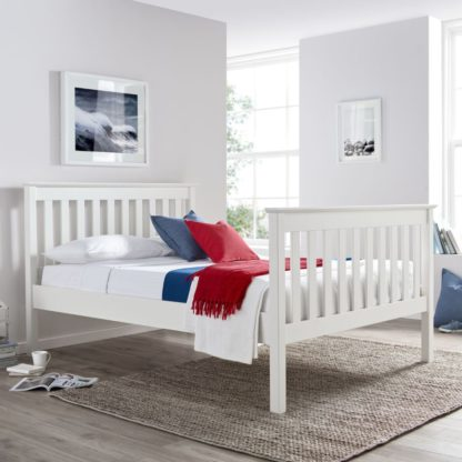 An Image of Solid Pine Wooden Bed Frame 5ft King Size Lisbon White Finish