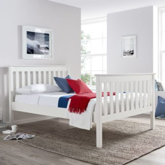 An Image of Solid Pine Wooden Bed Frame 4ft Small Double Lisbon White Finish