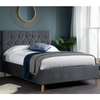 An Image of Loxley Fabric Upholstered Small Double Bed In Grey