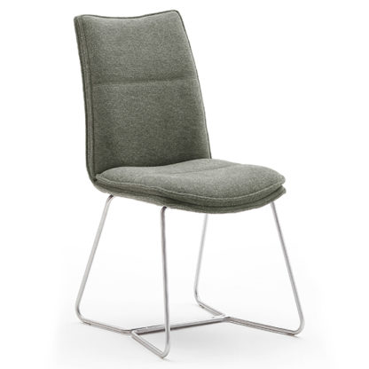 An Image of Ciko Fabric Dining Chair In Olive With Brushed Legs
