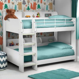 An Image of Domino White Wooden and Metal Kids Storage Bunk Bed Frame - 3ft Single