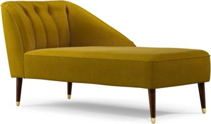 An Image of Custom MADE Margot Right Hand Facing Chaise Longue, Antique Gold Cotton Velvet with Dark Wood Brass Leg