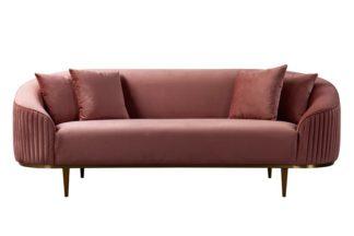 An Image of Ella Three Seat Sofa - Blush Pink - Brass Base