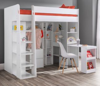 An Image of Aurora White Wooden High Sleeper Frame - 3ft Single