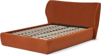 An Image of Topeka King Size Ottoman Storage Bed, Nutmeg Orange