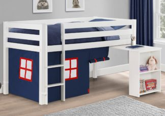 An Image of Wendy White Wooden Mid Sleeper With Blue Tent Frame Only - 3ft Single