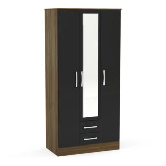 An Image of Lynx 3 Door Combination Mirrored Wardrobe Walnut and Black