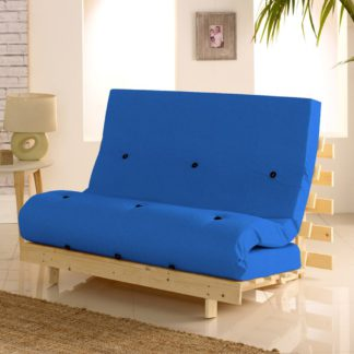 An Image of Metro Dark Blue Cotton Drill Fabric Tufted Futon Mattress - 4ft Small Double