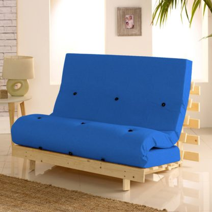 An Image of Metro Pine Wooden 1 Seater Chair/Folding Guest Bed with Dark Blue Futon Mattress - 2ft6 Small Single