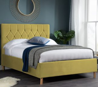 An Image of Loxley Mustard Velvet Bed Frame - 4ft Small Double