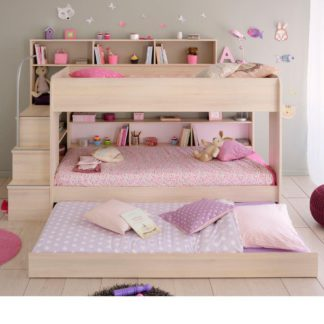 An Image of Bibop Acacia Wooden Bunk Bed with Underbed Trundle Frame - EU Single