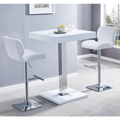 An Image of Topaz White Gloss Bar Table With 2 Candid White Bar Stools