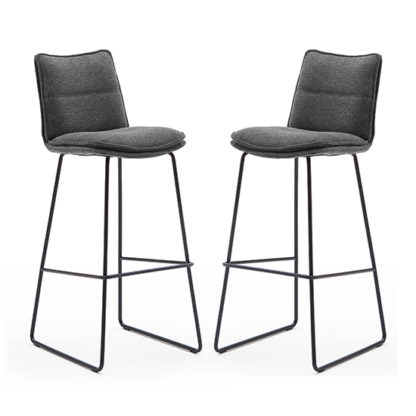 An Image of Ciko Anthracite Fabric Bar Stools With Matt Black Legs In Pair
